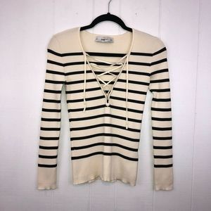 Zara Knit Ribbed Striped Top V Neck S